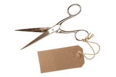 Metal scissors with blank tag,isolated stock image