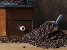 Metal Scoop Coffee Beans Royalty Free Stock Photos
