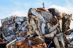 Metal Scrap. Metal junk, car parts and all kind of old and rusty iron and steel pieces Stock Image