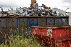 Metal scrap is located in large container royalty free stock image