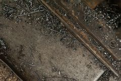 Metal scrap sawdust as an abstract background. Close up royalty free stock images