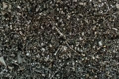 Metal scrap sawdust as an abstract background. Close up stock images