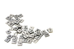 Metal scrapbooking letters Stock Photo