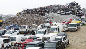 Metal scrapyard. A scrapyard for storing metal before taking it for recycling, a way to help the environment Royalty Free Stock Photo