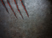 Metal scratched by beast claws Royalty Free Stock Images