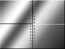 Metal  and screw. Four chrome squares with many screw.  blank illustration Royalty Free Stock Photo