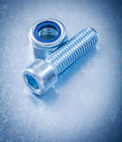 Metal screw nut and bolt detail on flat metallic Royalty Free Stock Image