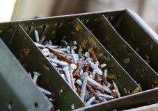 Metal screws in a bin Royalty Free Stock Photos
