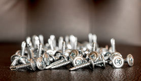 Metal screws. Metal screws closeup on brown leather Stock Image
