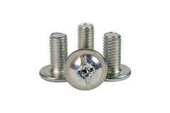 Metal screws isolate. Metal screws on a white background Stock Photos