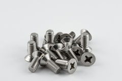 Metal screws. A lot of different metal screws for maintenance activity Royalty Free Stock Photos