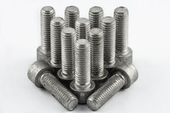 Metal screws. A lot of different metal screws for maintenance activity Royalty Free Stock Photo