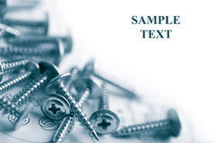 Metal Screws Over Technical Drawing Isolated Stock Photography
