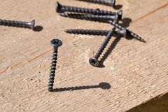 Metal screws on a wooden board close-up. Construction Materials.  Stock Photos
