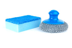 Metal scrub and blue sponge Royalty Free Stock Photo