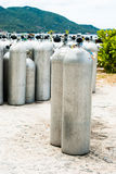 Metal scuba diving oxygen tanks Stock Photo