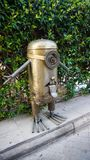 Metal sculpture. Brass metal sculpture of minion royalty free stock photography