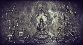 Metal sculpture of buddha story Stock Images