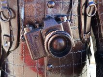 Metal sculpture of the camera. Stock Photo