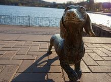 The metal sculpture of the dog stock photo