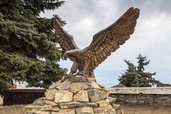 PYATIGORSK, RUSSIA - February 22, 2019: Metal sculpture of an eagle on mount Mashuk