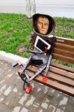 Metal sculpture of famous artist Kazimir Malevich designed in a modern style, located near Novgorod center of contemporary art in. VELIKY NOVGOROD, RUSSIA Stock Image