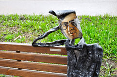 Metal sculpture of famous painter Vasily Kandinsky designed in a modern style, located near Novgorod center of contemporary art in Stock Photo