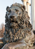 Metal sculpture of lion head Royalty Free Stock Photography