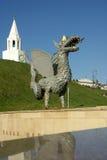 Metal sculpture of Zilant, the official symbol of Kazan. KAZAN, REPUBLIC TATARSTAN, RUSSIA - May, 2014: Metal sculpture of Zilant, the official symbol of Kazan stock image