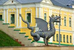 Metal sculpture of Zilant, the official symbol of Kazan. KAZAN, REPUBLIC TATARSTAN, RUSSIA - May, 2014:  Metal sculpture of Zilant, the official symbol of Kazan Stock Photos