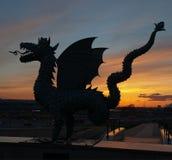 Metal sculpture of Zilant at sunset. Kazan. Russia. Metal sculpture of Zilant at sunset. Zilant is the official symbol of Kazan. Kazan. Russia royalty free stock photo
