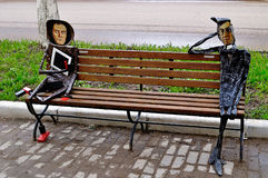 Metal sculptures of famous artists Malevich and Kandinsky designed in a modern style, located near Novgorod center of contemporary Royalty Free Stock Photography
