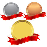 Metal seals and banner. Golden, silver and bronze seal with a red ribbon Stock Photography