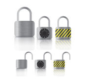 Metal securite locked and unlocked padlockers Royalty Free Stock Images