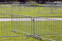 Metal security barriers. To divide the area for safety Stock Photo
