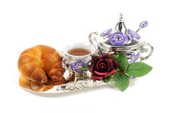 Metal set for tea and croissant Stock Photo