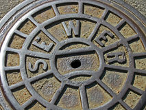 Metal Sewer Manhole, Industry Details, Royalty Free Stock Photo