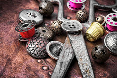 Metal sewing button Royalty Free Stock Photography