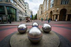 Metal sfery przed Stockholms södra stacją w Soder Obraz Royalty Free