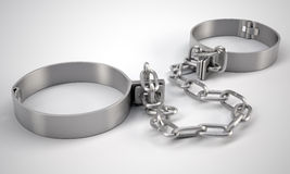 Metal shackles, on gray background Stock Images