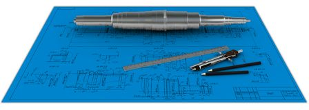 Metal shaft, compasses, rulers and pencils at an e Stock Photos