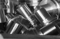 Metal shaft of reducer. Close-up Stock Photos