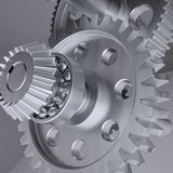 Metal shafts, gears and bearings Royalty Free Stock Photo