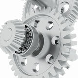 Metal shafts, gears and bearings Stock Photos