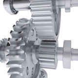 Metal shafts, gears and bearings Stock Images