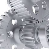 Metal shafts, gears and bearings Royalty Free Stock Photos