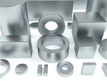 Metal shapes iron and neodymium magnets 3D Rendering. Metal shapes of iron and rare earth magnets 3D rendering Stock Photo