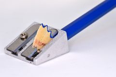 Metal Sharpener and Wooden Pencil stock photo