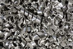 Metal shavings. Stainless steel metal shavings in machine shop royalty free stock photography