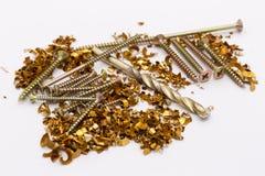 Metal shavings and screws Stock Image